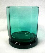 Anchor Hocking Double Old Fashioned Glass Essex Green 10 Facets Art Deco 3-3/4""