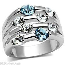 Bubble Rhodium Brass Aqua Marine Clear Crystal Stone Lady Ring Size 5