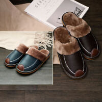 Home Slippers Winter Warm Leather Indoor Flats Comfy Close Toe House Sz Men's