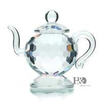 H&D Clear Crystal Teapot Figurines Paperweight Glass Valentine Ornaments Gifts