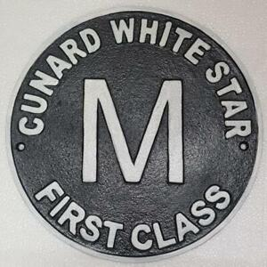 Vintage Style Cast Iron Wall Sign - CUNARD WHITE STAR FIRST CLASS - 25cm x 25cm