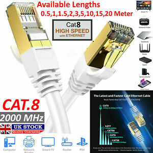 CAT8 Gigabit High Speed White RJ45 Network Ethernet Gold Plated Cable 40Gbps Lot