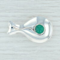 Green Chalcedony Whale Brooch Sterling Silver Denmark Vintage Pin