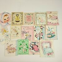 Vintage 40s Lot Greeting Cards Baby Girl Newborn New Parents Scrapbooking Crafts