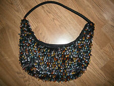 Beaded Medium Evening Bag Purse Teardrop Beads Gold Orange Red Yellow Clear Blue
