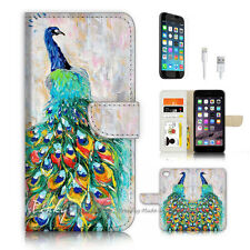 ( For iPhone 7 ) Wallet Case Cover P3950 Peacock Art Paint