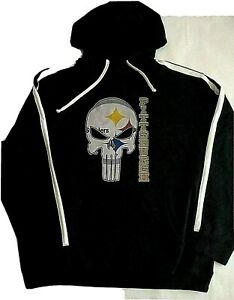 Pittsburgh Steelers NFL Youth Black Punisher Hoodie  XXL