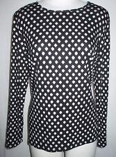 Chico's Size 1 Size M 8 Women's Long Sleeve Knit Top Blouse Black & White