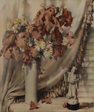 CECIL GOLDING Vintage Offset LITHOGRAPH Still Life AUTUMN LEAVES 40's #729