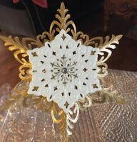 Snowflake Tree Topper 2012 Hallmark Vintage Christmas Design Gold Porcelain NIB