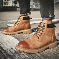 Mens Leather Lace up Round toe High top Ankle Boots Winter Casual Shoes Outdoor