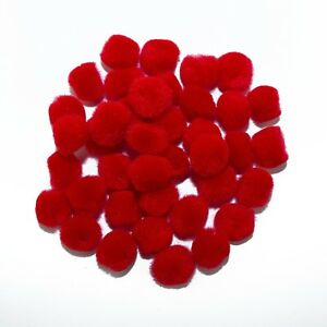 0.75 inch Red Mini Craft Pom Poms 100 Pieces