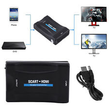 SCART To HDMI Video Audio Upscale Converter Adapter 1080P for Smartphone HD TV