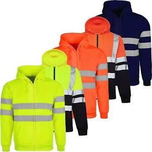 Mens Hi Viz Vis High Visibility Hoodie Jacket Safety Work Reflective Sweatshirt
