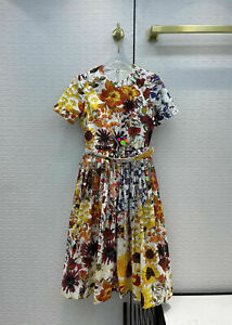 Oscar De La Renta Romantic 100%Cotton Print Beautiful Dress Flower Floral Dress