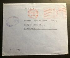 1943 London England Ohms Meter Cancel Cover To Liverpool Official Paid