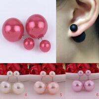 1 Pair Women Double Sided Stud Earring Pearl Front Back Pearl Earrings Jewelry N