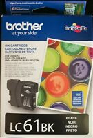 Genuine Brother Standard Yield Black Ink Cartridge LC61BK Expiration 02/2021 New
