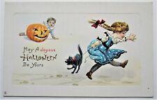 Stecher Big JOL Scares GIRL and Her Black CAT Embossed HALLOWEEN Postcard