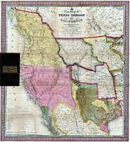 MAP ANTIQUE 1846 BURROUGHS TEXAS OREGON CALIFORNIA REPLICA POSTER PRINT PAM1696