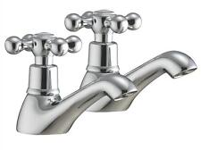 Chrome Bathroom Basin Hot & Cold Taps Antique Old Style Viscount 2