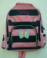 Pottery Barn Kids Small Fairfax Striped Pink Blue Butterfly Patch Backpack AIDEN