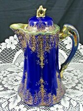 JAPANESE RICH COBALT BLUE HAND PAINTED RAISED GOLD GILT FLORAL COCOA POT
