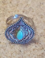 Teer Drop Size 7 Womens Fashion Silver Ring Turquoise