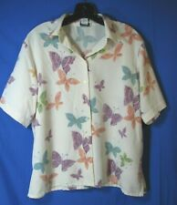 BON WORTH Vintage SILKY BUTTON-UP TOP PINK Green PURPLE BUTTERFLY Shirt PM M-P