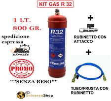 GAS R32 REFRIGERANTE RICARICA PER CLIMATIZZATORI +FRUSTA CON RUBINETTO+RUBINETTO