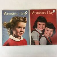 Lot of 2 Vintage 1948 Woman's Day Magazines Food, Fashion, DIY, Articles, & Ads