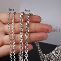 2/3/4/5mm Silver Women's Stainless Steel Rolo Chain Wholesale DIY Finding