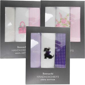 WOMENS LADIES 100% COTTON HANKIES HANKERCHIEFS MULTI PACK OF 3 GIFT BOX 24X24 CM