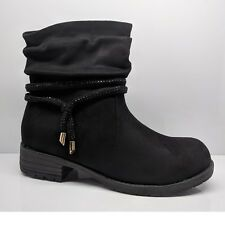 WOMENS LADIES WINTER BOOTS BLACK SUEDE CASUAL WORK BLOCK LOW HEELS SHOES SIZE