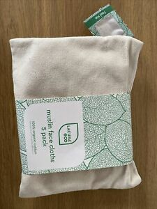 LACURA Eco exfoliating muslin cloths 100% viscose derived from bamboo 5 pack