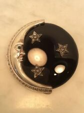 Vintage Creations Sterling Silver Marcasite Black Onyx Moon Stars Pin Brooch