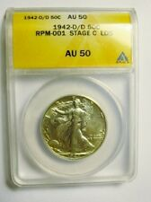 1942 D/D WALIKNG LIBERTY HALF DOLLAR RPM 001 STAGE C LDS ANACS AU50 4 KNOWN