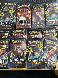 Pokemon Gold Power Box; 3 Packs Guaranteed; 1x Shining fates + 5 Holo Premade