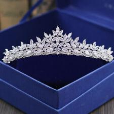 Luxury All CZ Cubic Zirconia Flower Wedding Queen Princess Prom Tiara Crown
