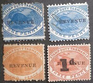 1900 Tasmania Australia Lot 4X Platypus Stamp Duty stamps REVENUE O/P Used