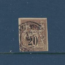 """GUADELOUPE - 1 - USED - 1884 - """"G.P.E. + 20"""" O/P ON FRENCH COLONIES STAMP"""