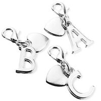 Personalised Initial Clip On Charm with Thank You Heart and Silver Plated Letter