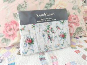 RALPH LAUREN Ruffled ROSES Floral FULL Size BEDDING Bed SHEET Vintage BLAINE NEW