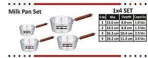 Milk  Pans Made by  Aluminium in 4 Sizes Tiger Brand (Free post in UK)
