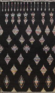 Black Authentic Moroccan Berber Oriental Area Rug Vegetable Dye Handmade 9x12 ft