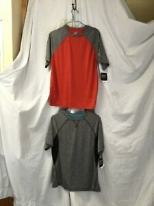 ZeroXposur Boys L 14-16 UPF 20+ Sun Protection Shirt Red and gray lot of 2