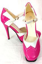 "Urban Original Womens Sz 9 Pink White Spectator Mary Jane 5"" High Heels Shoes"