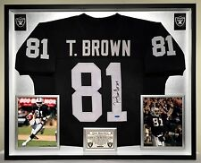 Premium Framed Tim Brown Autographed / Signed Oakland Raiders Jersey PSA COA