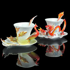Red New Phoenix And Dragon Coffee Set/ Tea 2Cups 2Saucers 2Spoon Wedding Gift