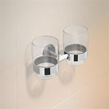 Cosmos CHROME DOUBLE BATHROOM TUMBLER HOLDER Contemporary Modern Style Design